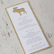 Woodland Rustic Glam Gold Glitter Wedding Menu Invitation By Pink Umbrella Designs Canmore Banff And Calgary Stationery