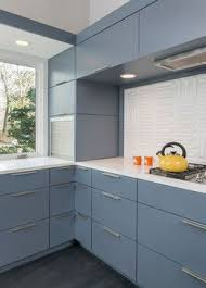 Interior Midcentury Kitchen With Grey Built In Storage Cabinet Corner Door And Tabour Top Hinge Upper Cabinets Design Ideas Remodelling