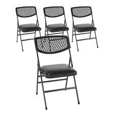 4pk Vinyl And Resin Folding Chair Hammertone Black Cosco