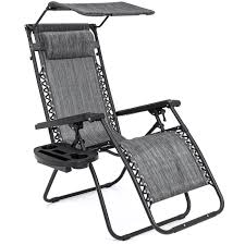 Best Choice Products Folding Zero Gravity Recliner Lounge Chair W/ Canopy  Shade And Cup Holder Tray - Gray