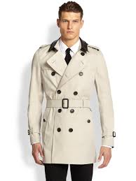 burberry leathercollar trenchcoat in natural for men lyst