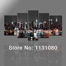 5pieces Wall Canvas Painting New York City At Night View Posters Home Decoration Pictures For