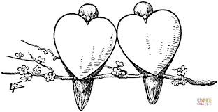 Click The 2 Bullfinches As Hearts Coloring Pages
