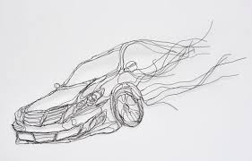 Wire Sculpture 2D Fast Car 11in Hyundai Genesis Wall Art By