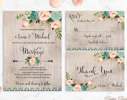 Rustic Wedding Invitation Printable Mint Invitations Blush Invite Boho Peonies Bohemian Set