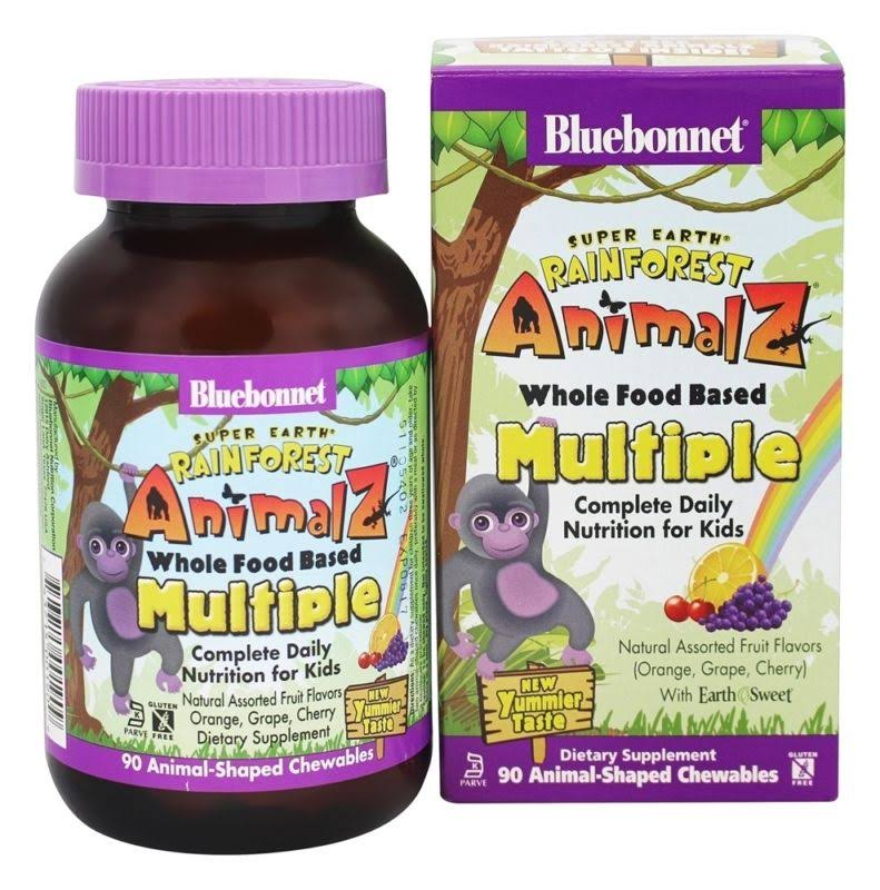 Bluebonnet Super Earth Rainforest Animalz - 90 Animal-Shaped Chewables, Orange, Grape, Cherry