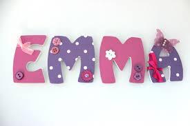 lettre decorative pour chambre bébé plaque de porte prénom personnalisé lettres bois thème girly