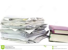 Piled Up Office Work Papers Cutout Document