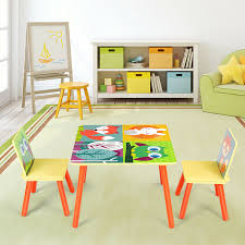 Gymax Kids Table And 2 Chairs Set For Toddler Baby Gift Desk Furniture Cartoon Pattern