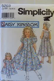 Simplicity 5203 Childs And Girls Dress Hat Doll For