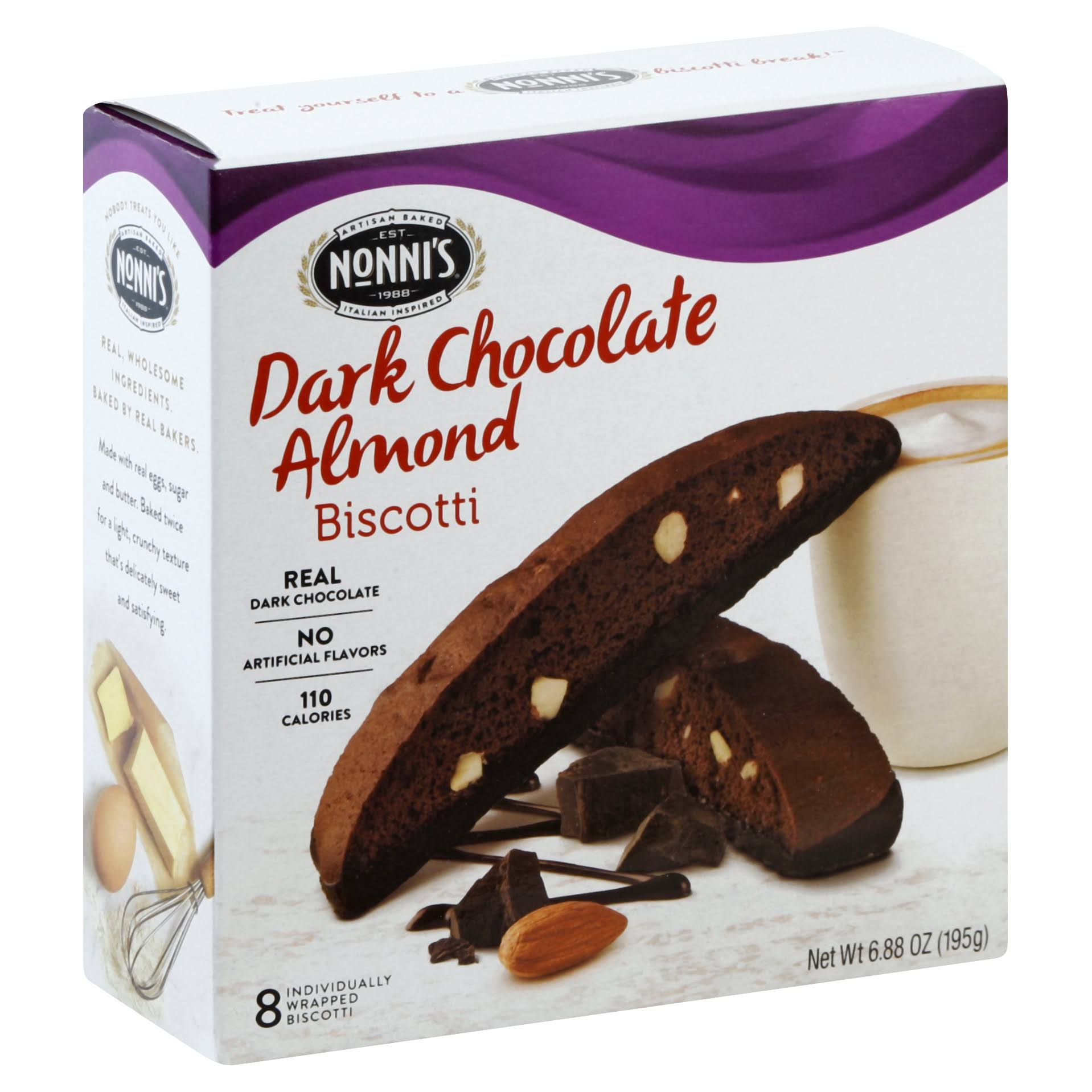 Nonni's Biscotti - Dark Chocolate Almond Flavor, 8ct, 6.88oz
