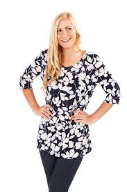womens paisley tunic top navy blue summer blouse ladies clothing