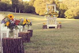 Rustic Outdoor Wedding Ceremony Decorations Wood Stump Aisle Runners Onewed
