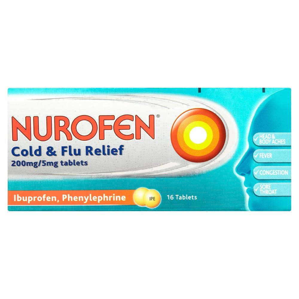 Nurofen Cold and Flu Relief Tablets - 16 Pack, 200mg/5mg