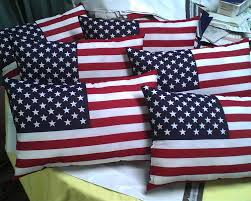 Patriotic American Flag Pillow Red Wht Blue USA