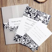 Black White Floral Pocket Wedding Invitation IWGY052