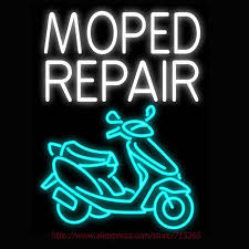 Neon Sign Moped Repair Motor Real Glass Tube Handcrafted neon