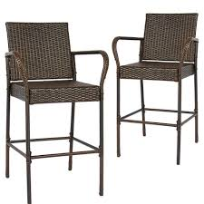 Amazon.com : 2PCS Rattan Wicker Bar Stool Outdoor Backyard ... 9363 China 2017 New Style Black Color Outdoor Rattan Ding Outdoor Ding Chair Wicked Hbsch Rattan Chair W Armrest Cushion With Cover For Bohobistro Ica White Huma Armchair Expormim White Open Weave Teak Suma With Arms Natural Hot Item Rio Modern Comfortable Patio Hand Woven Sidney Bistro Synthetic Fniture Set Of Eight Chairs By Brge Mogsen At 1stdibs Wicker Derektime Design Great Ideas Warm Rest Nature