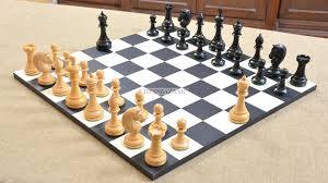 Combo Of Reproduced Antique Series Dublin Pattern Chess Pieces Minimalist Wooden Board In Ebony Box Wood