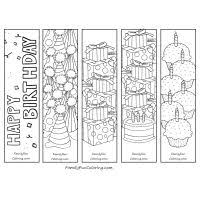 Printable Happy Birthday Bookmarks To Color
