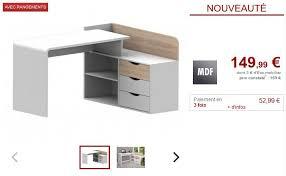 vente unique bureau bureau declan 3 tiroirs mdf coloris blanc et chêne bureau vente