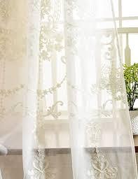 lactraum vorhang wohnzimmer mit ösen weiß tranparent bestickt vintage klassische voile dichte 145 x 245cm