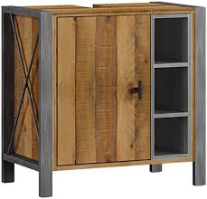 woodkings bad waschbeckenunterschrank detroit holz metall mix recycelte pinie unterschrank badmöbel industrial stil