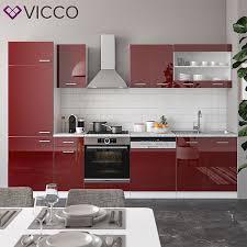 vicco küche r line 300cm küchenzeile küchenblock einbau rot bordeaux hochglanz