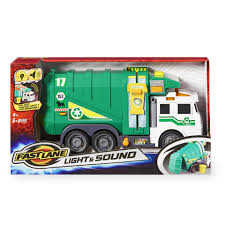 Fast Lane Light And Sound Garbage Truck - Green - Toys
