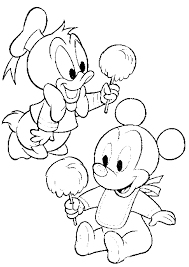 Disney Baby Mickey And Donald Coloring Pages Printable For Preschoolers