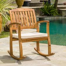 Noble House Selma Teak Finish Wood Outdoor Rocking Chair With Cream Cushion