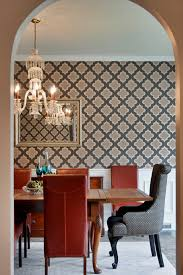 Impressive Moroccan Wallpaper Decorating Ideas For Dining Room Traditional Design With Arch Chandelier