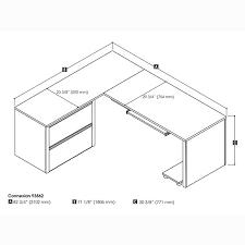 bestar connexion l desk with oversized pedestal 93862