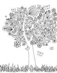 Free Coloring Page Tree With Flowers And Butterflies