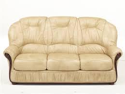 canapé cuir et bois rustique canapé 3 places en cuir de vachette coloris beige debora
