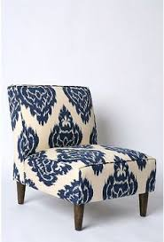 burke armless slipper chair aegean blue yellow floral bethy s