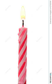 Burning Birthday Candle Cake Isolated A White