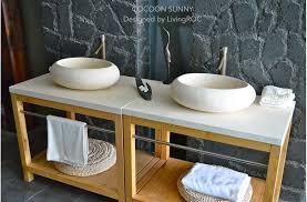 vasque en à poser cocoon design oblongue en marbre