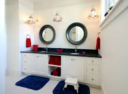 Red-blue-towels-in-modern-nautical-bathroom-theme-with-good-towel ... Guest Bathroom Ideas Luxury Hdware Shelves Expensive Mirrors Tile Nautical Design Vintage Australianwildorg Decor Adding Beautiful Dcor Nautica Tiles 255440 Uk Lovely 60 Inspiring Remodel Pb From Pink To Chic A Horrible Housewife 25 Stunning Coastal 35 Awesome Style Designs Homespecially For Home Purple Small Blue With Wascoting And Clawfoot Fresh Colors Modern