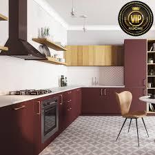 moderne offene küche alpen wohnküche l form weinrot natureiche