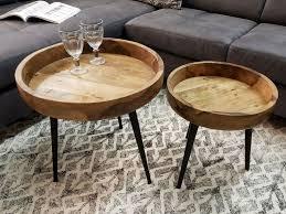 beistelltisch couchtisch wohnzimmer tisch rund ø 50 cm amsterdam metall gestell schwarz matt