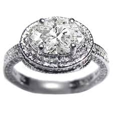 Vintage Style Horizontal Oval Diamond Engagement Ring Setting Pave Set In 14K White Gold 088