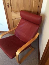 Ikea Poang Chair Cushion And Cover by Ikea Poäng Armchair Ox Blood Red Leather Seat Cushion In