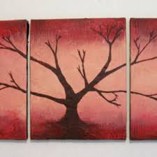 Tree Of Life Artwork Fine Art Wall Sculpture Painting Texture Abstract Red Wood 48