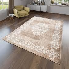 wohnzimmer teppich modernes orientalisches design kurzflor in beige braun größe 240x340 cm