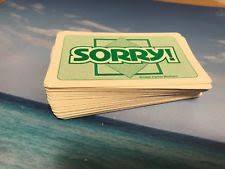 PARKER BROTHERS VINTAGE 1992 SORRY BOARD GAME REPLACEMENT COMPLETE DECK CARDS
