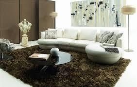 canapé cuir blanc d angle arrondi et pouf cuir noir demi lune