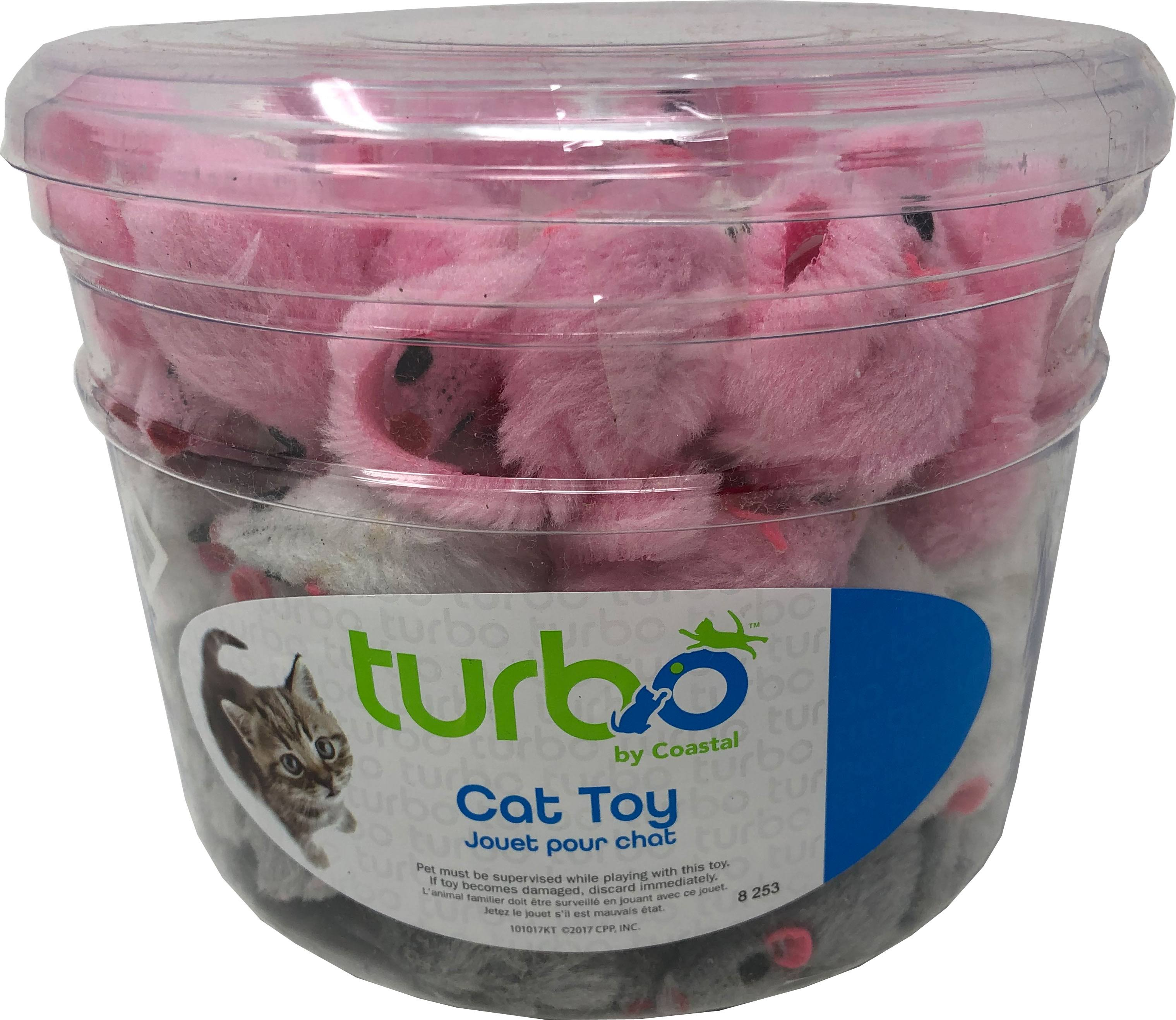 Coastal Pet Products 80520 NCLCAT Turbo Furry Mice Cat Toy Canister - Multicolor 90 Piece - Pack of 8