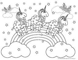 Coloring Pink Fluffy Unicorns Dancing On Rainbows Page By FrontDesk Studio