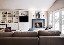 Wood Fireplace Mantel Shelves Designs by Fireplace Center Speaker Family Room Contemporary With Sectional